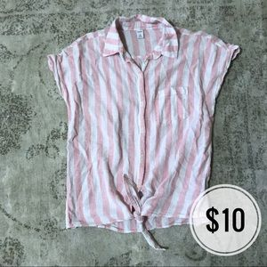 Old Navy Blush and White Stripe Button Down
